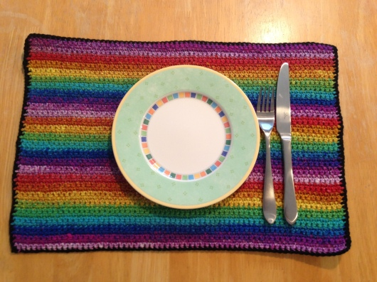 "Tie dye, hippie placemat of love. ~20""X12.75"""