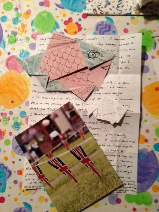 Handwritten letters and even origami. Woo hoo!!!
