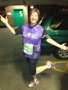 PDX Half Marathon - 2014 - with the way oversized team shirt I got at the 11th hour.