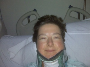 OY! A few hours after the 2nd surgery. 12/2010. Should have just shaved my head.